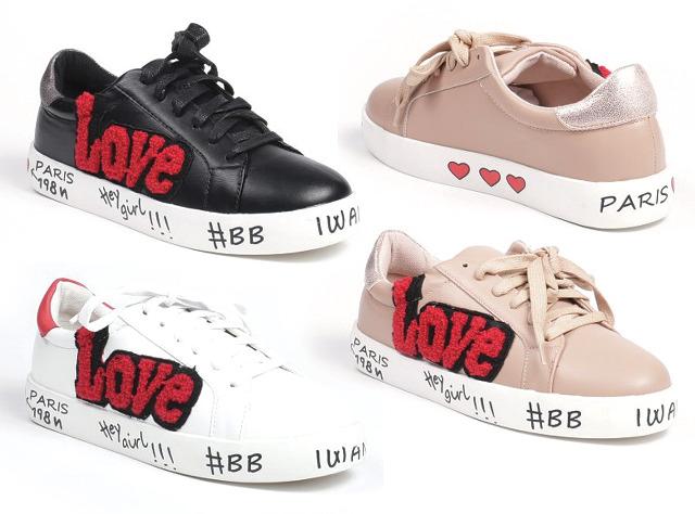 Damen Trend Sneaker Love Patches Sticker Glitzer Glänzend Schnür Schuhe Schuh Shoes Sportschuhe Freizeit Schuh - 14,90 Euro