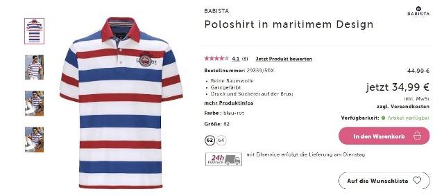 Herren Poloshirt in maritimem Design in Gr. 64