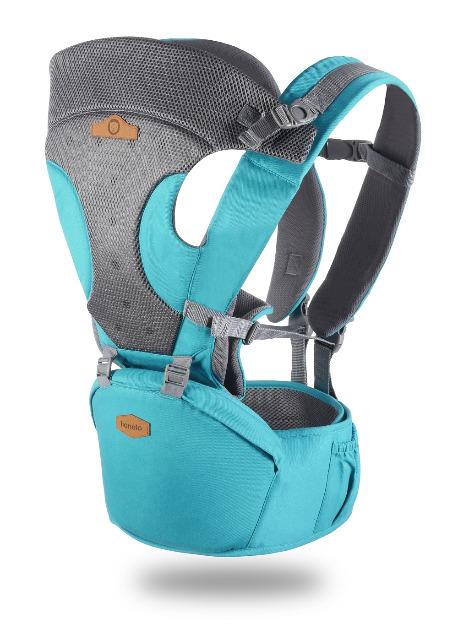Lionelo Lauren ergonomische Babytrage Bauchtrage türkis bis 15kg Baby Tragetasche Hüfttrage Rückentrage Kindertrage Rückenschonend Trage