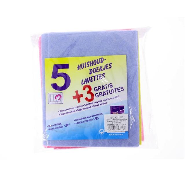 Putzlappen 5+3 Gratis in blau, gelb, pink