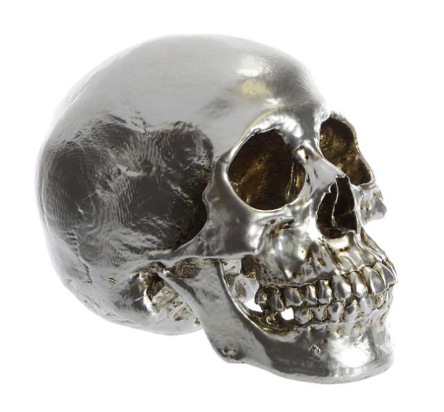 17-61979, Schädel, silber 15,5 cm, Totenkopf