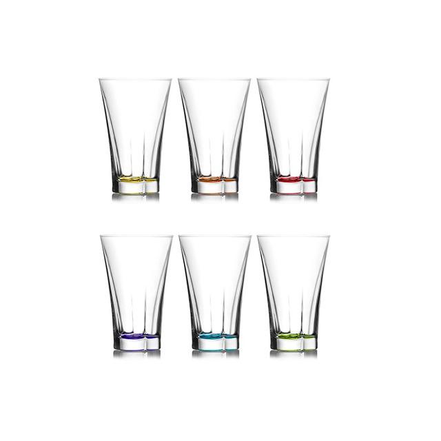 LAV 6 -teiliges Design Wassergläser-Set färbiger Boden / Trinkgläser 350 ml / Saftgläser