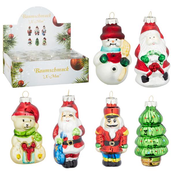 17-29037, Glas Weihnachtsbaumschmuck 6er Set, Weihnachtsbaumhänger, Tannenbaum
