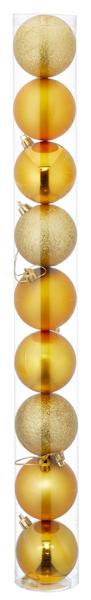 17-62134, Christbaumkugel Sortiment, 9er Set, GOLD, ca. 6cmD, Weihnachtsbaumkugeln, Weihnachtsbaumhänger, Tannenbaumkugeln
