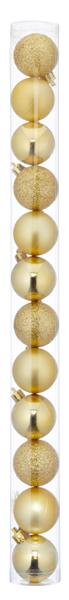 17-62135, Christbaumkugel Sortiment, 12er Set, GOLD, ca. 4cmD, Weihnachtsbaumkugeln, Weihnachtsbaumhänger, Tannenbaumkugeln