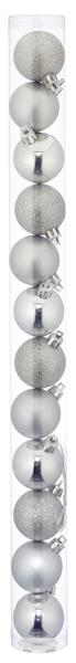 17-62139, Christbaumkugel Sortiment, 12er Set, SILBER 4cmD, Weihnachtsbaumkugeln, Weihnachtsbaumhänger, Tannenbaumkugeln
