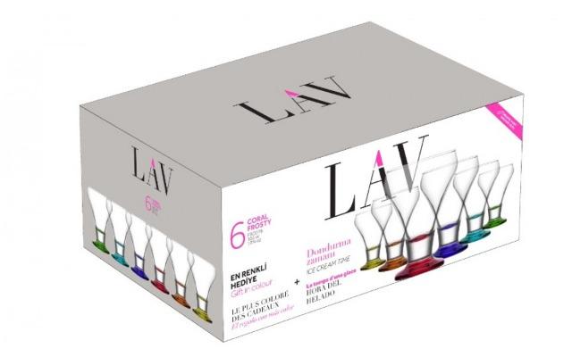 LAV 6- teiliges Eisschalen-Set Eisbecher farbige Schalen Snackschalen aus hochwertigem Glas 285 ml Dessertschalen