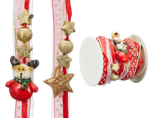 17-25558, Dekoband Weihnachten, 200 cm, Weihnachtsmann, Nikolaus, Santa, Schneemann, Rentier, Geschenkband