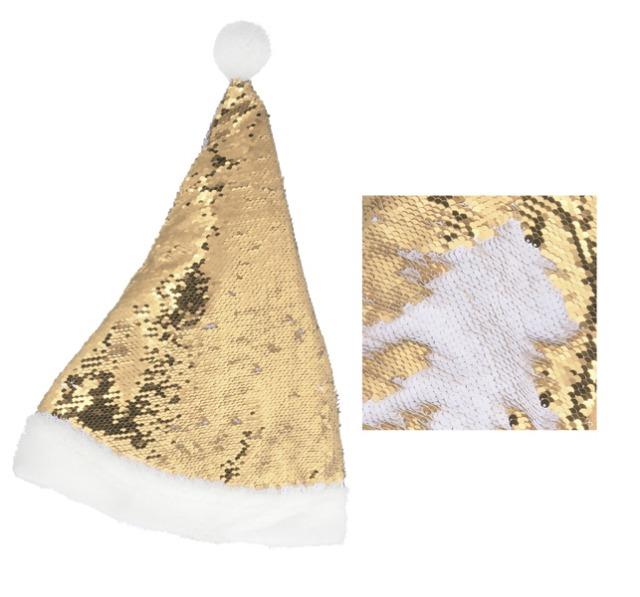 17-63348, Weihnachtsmütze mit Pailletten, weiß/gold, 47 cmH, Nikolausmütze