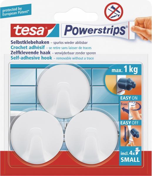 Tesa Powerstrips Haken Mini Rund Weiß Set 3 Haken 4 Strips