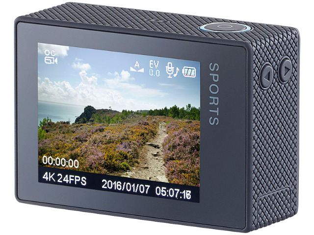 Somikon 4K-Action-Cam UHD 2 Displays 16-MP-Sony-Sensor IP68 Nachtsicht Bewegungserkennung Dashcam WLAN Kamera Actioncam Wasserdicht Sport