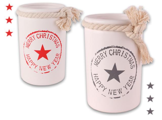 Keramikvase mit Kordel Blumenvase Weihnachten Geschenk Deko Christmas Weihnachten Vase Dekoration - 1,19 Euro