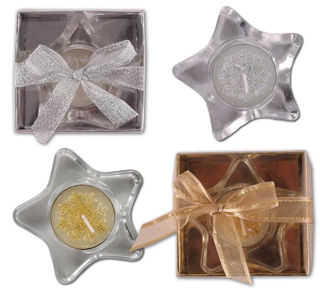 Teelichthalter Glas Stern mit Teelicht Glitzer Geschenk Deko Weihnachten Christmas Candle Tischdeko Advent Dekoration - 0,49 Euro
