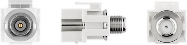 Keystone Modul SAT/Antenne, front: Koax-Stecker - back: F-Buchse