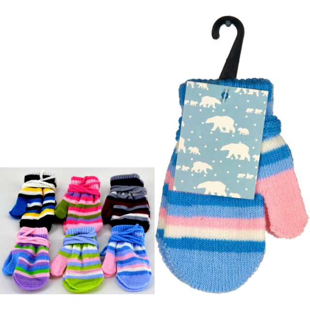 28-220290, Kinder Fäustlinge/Handschuhe getreift, mit Verbindungsschnur, Handschuh, Handschuhe