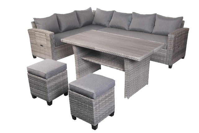 garten sitzgruppe lounge set rattan gartengarnitur gartentisch gartensofa grau 15569513. Black Bedroom Furniture Sets. Home Design Ideas