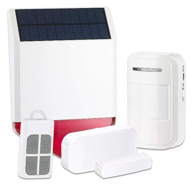 VisorTech Solar-Funk-Alarmalage XMD-4400.Easy 110dB 5-tlg Starter-Set mit Sensoren Alarm Sirene Sensoren Sicherheit Einbruchschutz Diebstahl