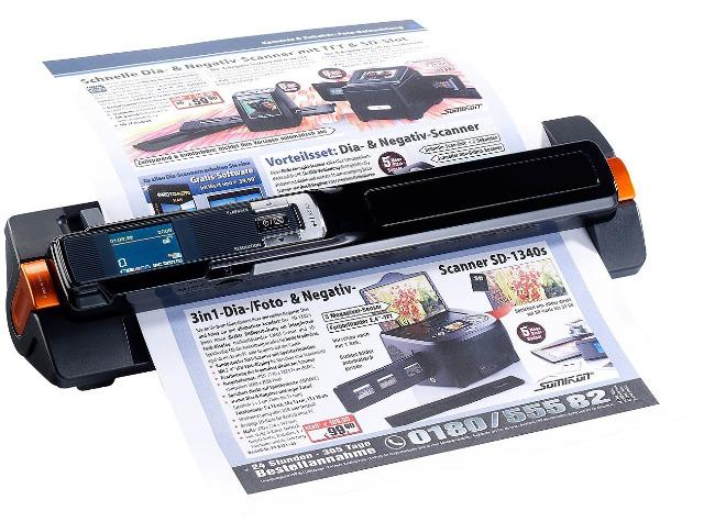 Somikon 2in1-Handscanner mobiler Scanner mit Dockingstation Papier Dokumentenscanner 900 dpi für Foto Text Buch Visitenkartenscanner
