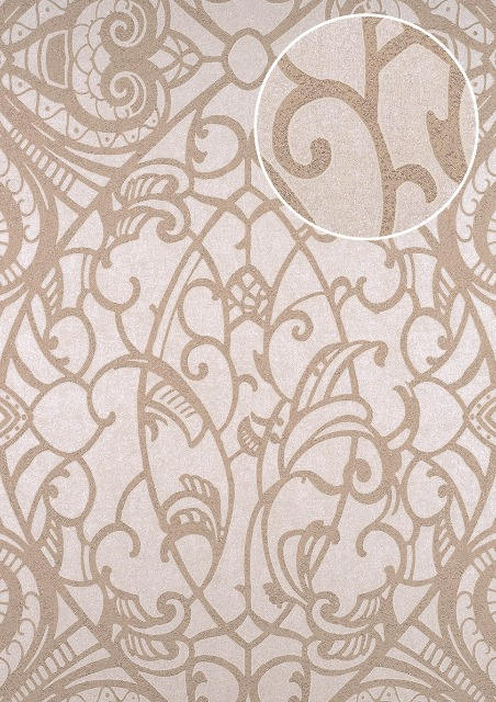 Atlas Cla 597 6 Barock Tapete Grafisch Glanzend Creme Beige Grau