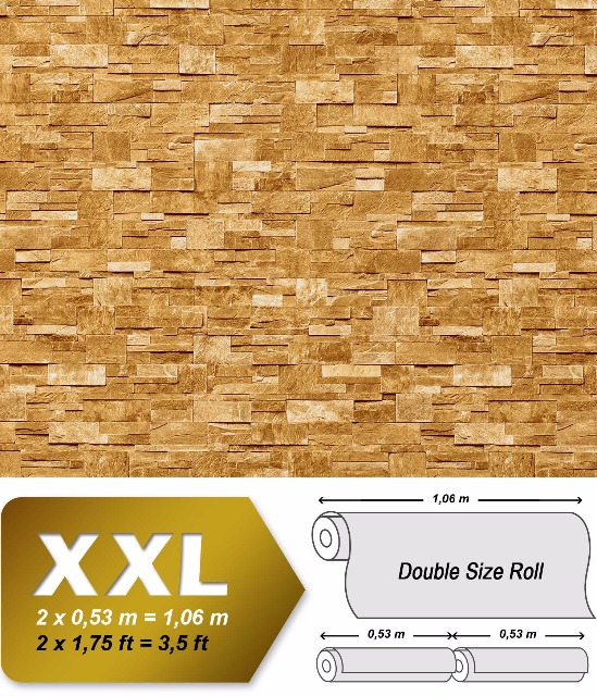 3D Stein Vliestapete EDEM 918-33 XXL geprägte Naturstein Bruchstein-Optik hochwertig sand beige 10,65 qm
