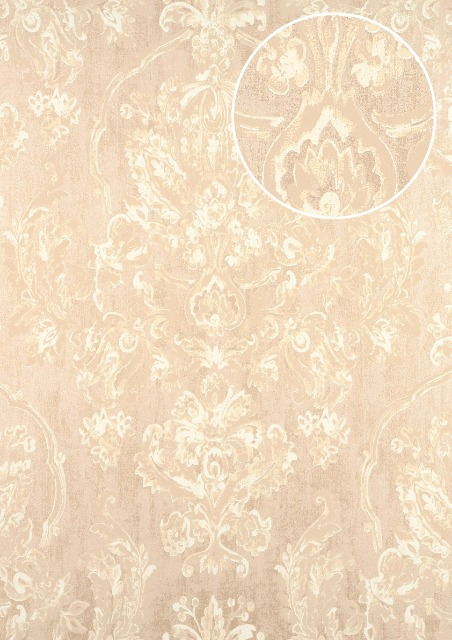 Atlas Cla 602 3 Barock Tapete Floral Glanzend Creme Perl Weiss Beige