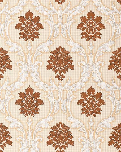 Barock Tapete EDEM 052-21 Tapete Damask Relief-Ornamente Flock Optik braun weiß beige