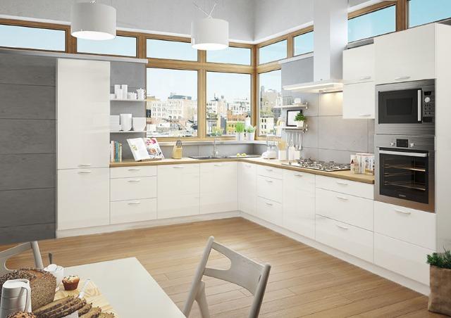 Küche L-Form weiss Hochglanz LACKIERT 270 x 320 cm ohne Geräte ...