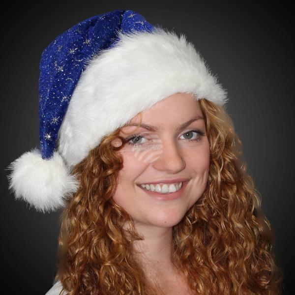 Weihnachtsmützen Nikolausmützen blau mit Pelzrand