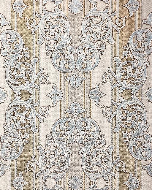 Barock-Tapete EDEM 580-30 Hochwertige geprägte Tapete in Textiloptik und Metallic Effekt hell-elfenbein perl-gold silber 5,33 m2