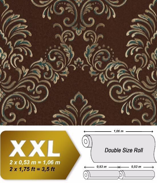 Barock Tapete EDEM 9084-26 heißgeprägte Vliestapete geprägt mit floralen Ornamenten und metallischen Akzenten braun gold petrol 10,65 m2