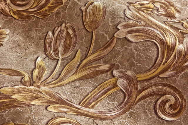Blumen Tapete EDEM 9013-39 heißgeprägte Vliestapete geprägt mit floralen Ornamenten glitzernd braun bronze gold creme-weiß 10,65 m2