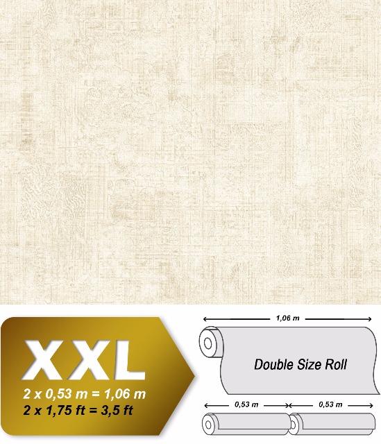 Spachtel Putz Tapete EDEM 9093-10 heißgeprägte Vliestapete geprägt im Shabby Chic Stil glänzend creme weiß 10,65 m2