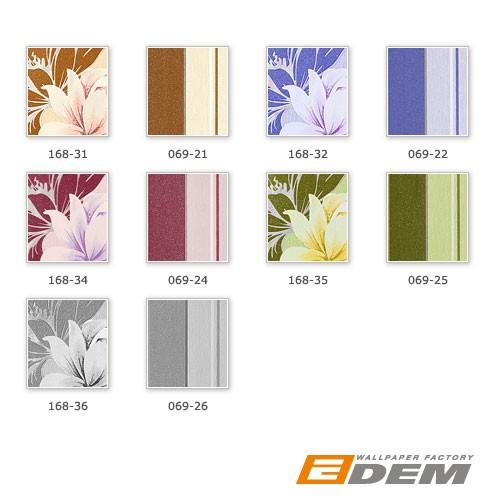 Blumen Tapete EDEM 168-32 Floral Landhaus Blumentapete Designer Vinyltapete Kobaltlau lichtblau weiß violett silber