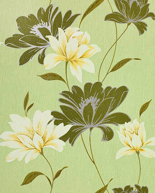 Blumen Tapete EDEM 168-35 Floral Landhaus Blumentapete Designer Vinyltapete Moosgrün hellgrün weiß gelb silber