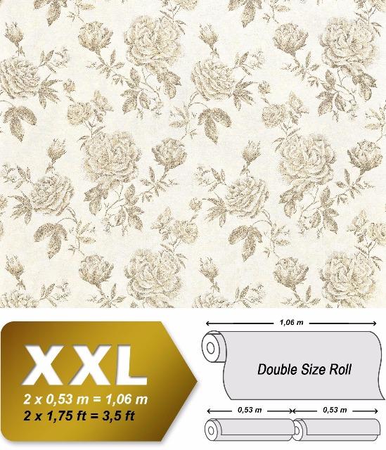 Blumen Tapete XXL Vliestapete EDEM 687-91 Florales Muster Rosen und Blätter creme gelb beige 10,65 m2