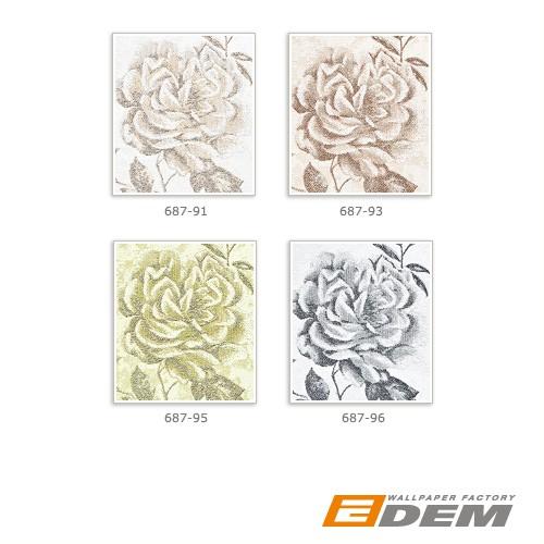 Blumen Tapete XXL Vliestapete EDEM 687-93 Florales Muster Rosen und Blätter braun beige creme 10,65 m2