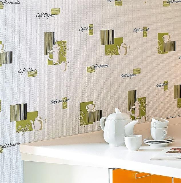 EDEM 062-20 Tapete Café Kaffeehaus-Motive Mosaiksteine Kachel weiß schoko-braun