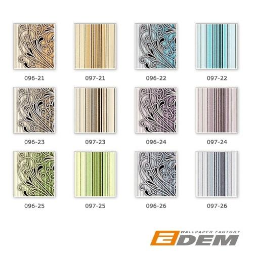 EDEM 097-24 Tapete Designer Streifentapete prunkvoll violett flieder weiß silber