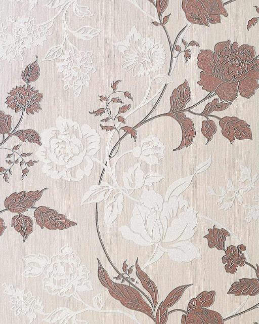 EDEM 116-23 Design Floral Blumen Tapete beige creme weiß kakao-braun silber