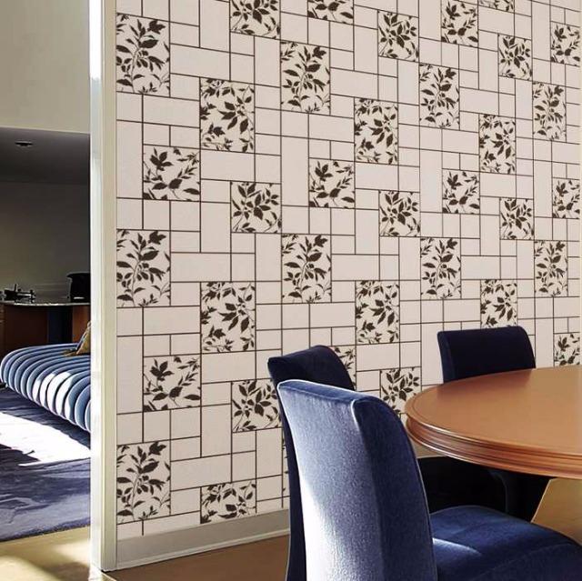 Küche Bad Tapete EDEM 146-20 3D Steintapete Flur Hobbyraum Tapete Fliesen Kacheln Optik florales Muster hellgrau grau weiß