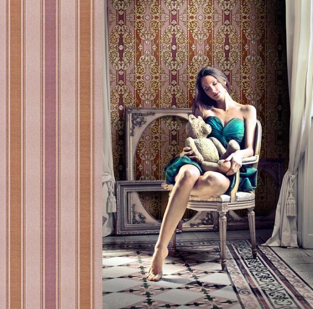 Streifen-Tapete EDEM 508-24 Hochwertige geprägte Tapete in Textiloptik und Metallic Effekt rot-braun perl-gold silber 5,33 m2