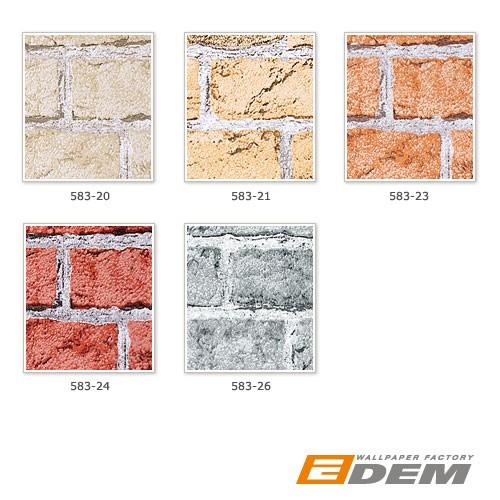 3D Stein Tapete EDEM 583-26 Rustikale Design Vinyl Tapete klassische Vintage Optik Mauerstein Klinker Ziegelstein grau