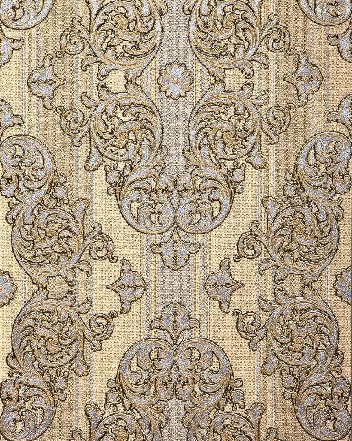 Barock-Tapete EDEM 580-31 Hochwertige geprägte Tapete in Textiloptik und Metallic Effekt safran-gelb perl-gold silber 5,33 m2
