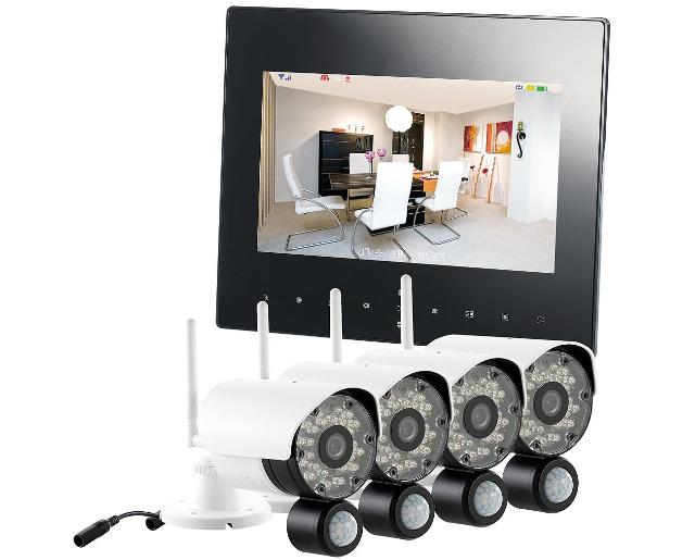 VisorTech DSC-720.mc Funk Überwachungs-Set mit 4 schwarz-weißen HD-IP-Kameras + Monitor Überwachungskamera Überwachung Sicherheit Kamera