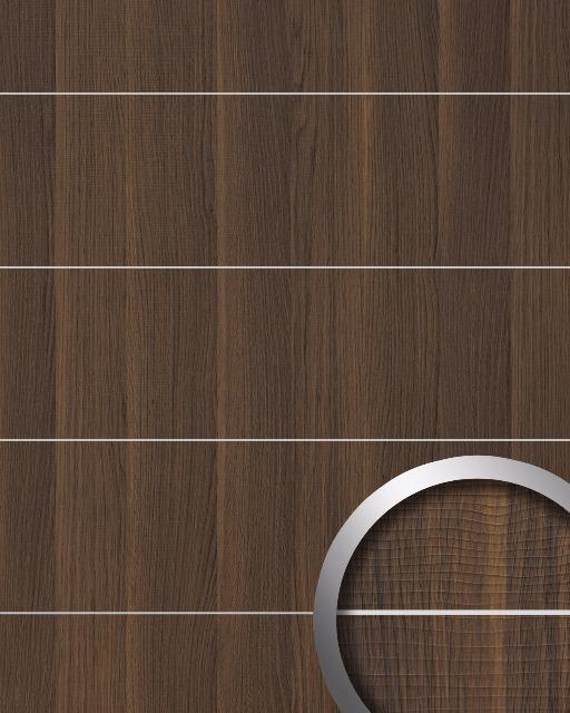 wandverkleidung holz optik wallface 19099 nutwood 8l nussbaum dekor metall lisenen geburstet wandpaneel selbstklebend dunkelbraun 2