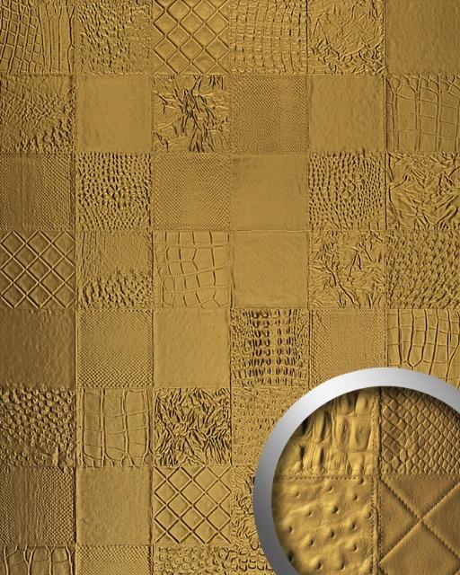 WallFace 13926 COLLAGE Luxus Leder Wand-Paneel Verkleidung Tapete gold | 2,60 qm
