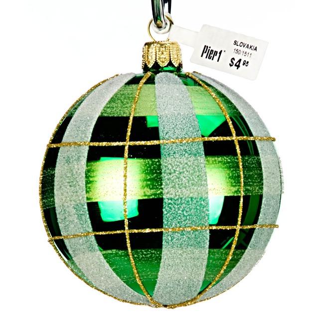 28-473868, Glas Christbaumkugel 8 cm, Weihnachtsbaumkugel grün
