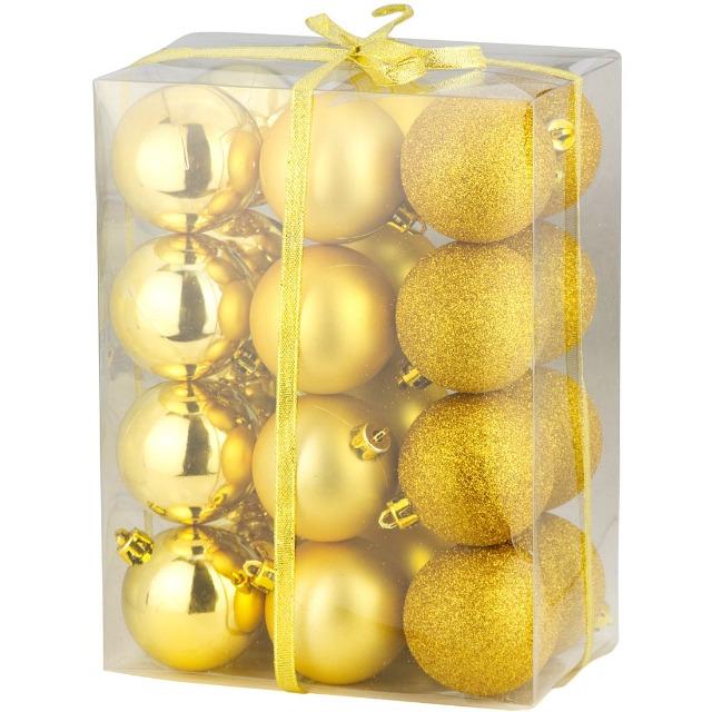 28-711291, Christbaumkugeln 24er Pack, goldfarben, Weihnachtsbaumkugeln gold, Baumschmuck