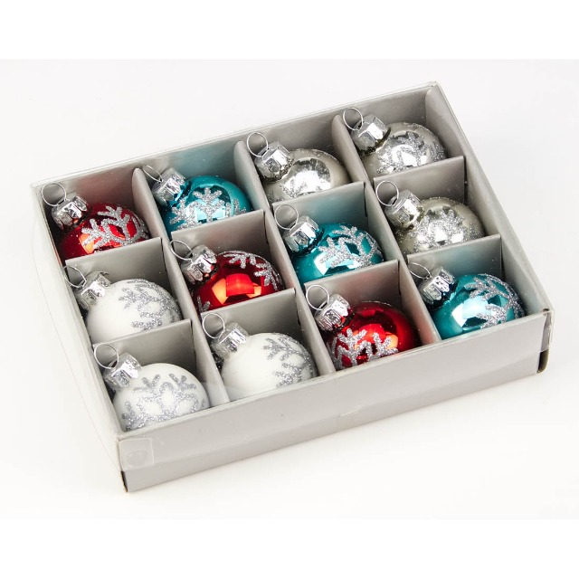 28-711907, Glas Christbaumkugeln 12er Pack, Weihnachtsbaumkugeln, Baumschmuck
