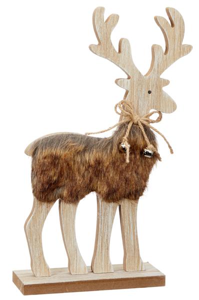 17-73207, Holzfigur Deko Hirsch Fell, 31 x 20 cm